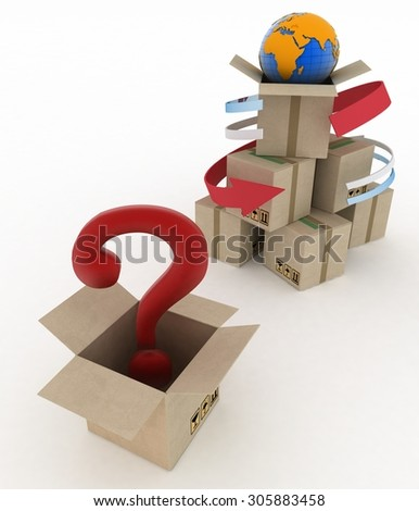3d cardboard boxes around globe with question mark on white background. Worldwide shipping concept. - stock photo