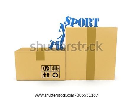 3d cardboard boxes with word transport isolated on white background