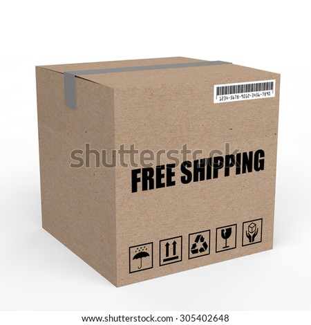 3d carton box with free shipping text - stock photo