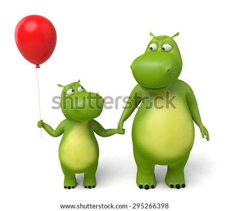 3d cartoon animal, parents with children. 3d image. Isolated white background