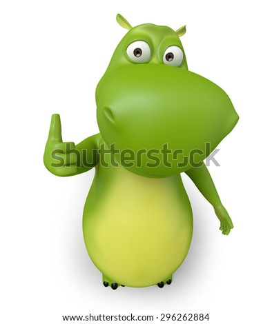 3d cartoon animal showing thumb up. 3d image. Isolated white background
