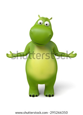 3d cartoon animal standing here showing something.3d image. Isolated white background