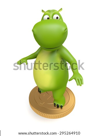 3d cartoon animal with a big coin. 3d image. Isolated white background