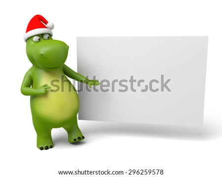 3d cartoon animal with a empty board. 3d image. Isolated white background