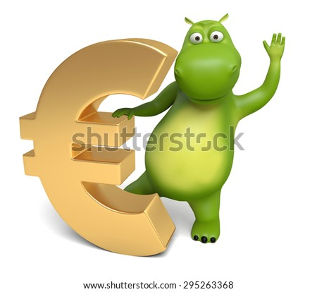 3d cartoon animal with a euro currency symbol. 3d image. Isolated white background