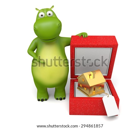 3d cartoon animal with a golden house. 3d image. Isolated white background.