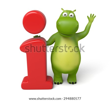 3d cartoon animal with a info mark,. 3d image. Isolated white background