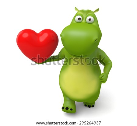3d cartoon animal with a red heart. 3d image. Isolated white background.