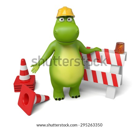 3d cartoon animal with a roadblock. 3d image. Isolated white background