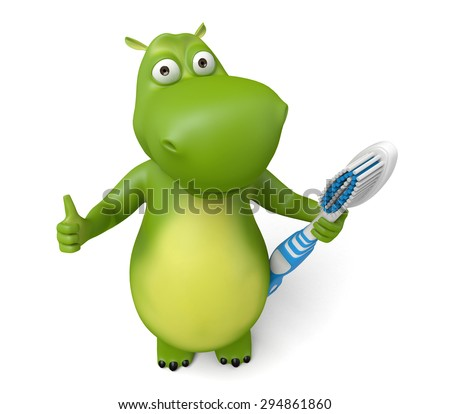 3d cartoon animal with a toothbrush. 3d image. Isolated white background.