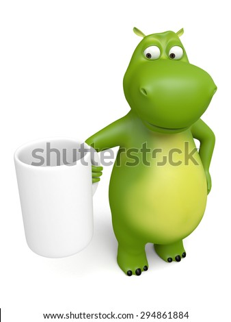 3d cartoon animal with a white cup. 3d image. Isolated white background.
