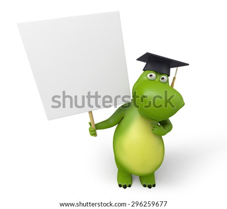 3d cartoon animal with an empty signboard. 3d image. Isolated white background