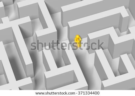 3D cartoon character inside a maze - great for topics like being lost, abandoned, confused etc. - stock photo
