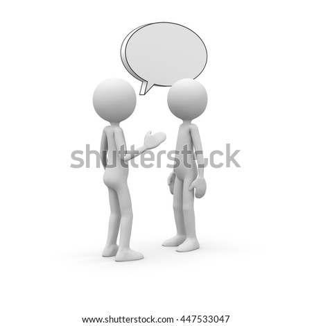 3D Cartoon Character - Little Guy as Interlocutor with Speech Balloon. Black and White Rendering with Clear Background and Smooth Shadow.