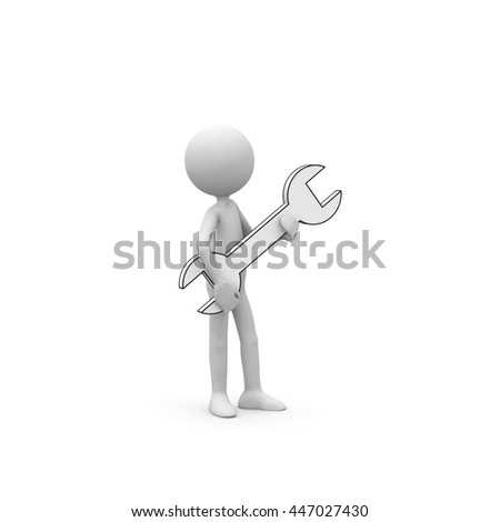 3D Cartoon Character - Little Guy as Repairman Holds a Wrench in His Arms. Black and White Rendering with Clear Background and Smooth Shadow.