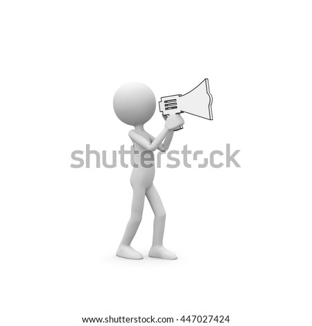 3D Cartoon Character - Little Guy as Speaker Talking Into a Megaphone. Black and White Rendering with Clear Background and Smooth Shadow.