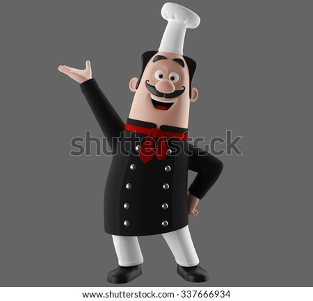 3D cartoon character, merry cook icon, isolated no background, gourmet chef man, black cooking apron