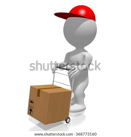 3D cartoon character, push cart and a package - great for topics like delivery, transportation, post etc. - stock photo
