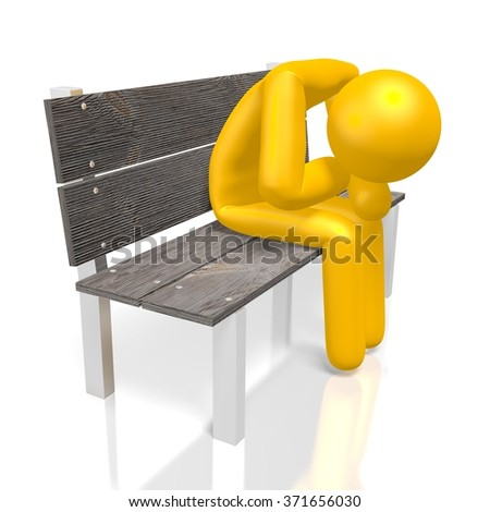 3D cartoon character sitting on a bench - great for topics like being confused, sad, depressed etc. - stock photo
