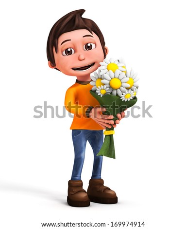 3d cartoon character with flower-valentines day-isolated - stock photo
