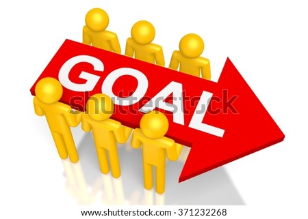 """3D cartoon characters and an arrow with """"goal"""" letters on it.  - stock photo"""
