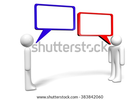 3D cartoon characters and speech bubbles - great for topics like communication, dialog, talking, arguing, social networking, conversation, chat etc. - stock photo
