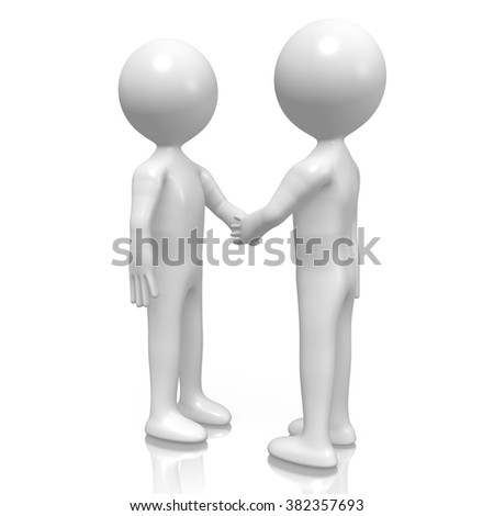 3D cartoon characters - handshake, contract, agreement concept.