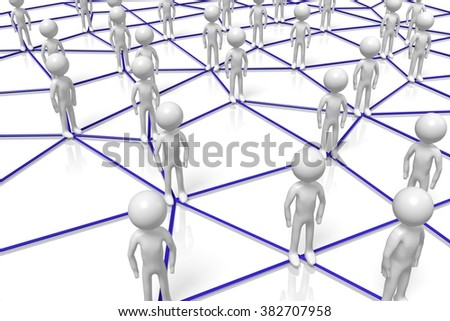 3D cartoon characters - network concept. - stock photo