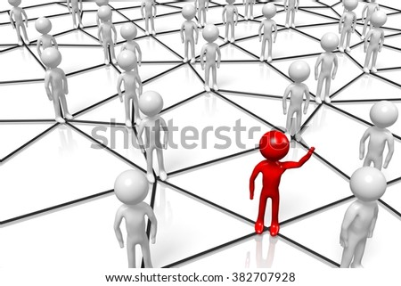 3D cartoon characters - network, leader concept. - stock photo