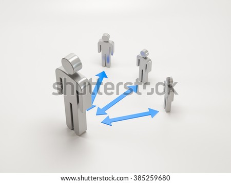 3D cartoon characters with arrows. Communication concept. Adult teacher or parent and children