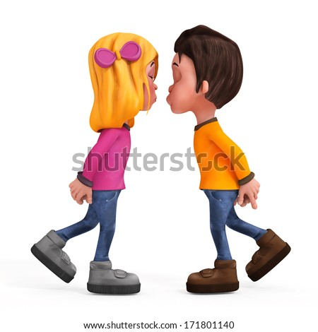 3d cartoon couples kissing - isolated - stock photo