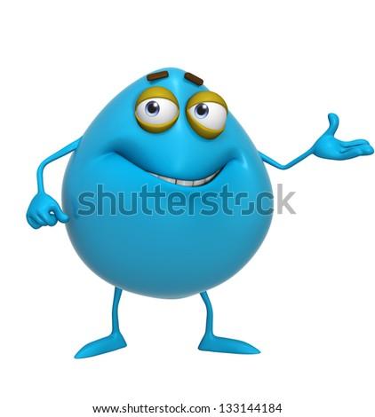 3d cartoon cute blue monster - stock photo