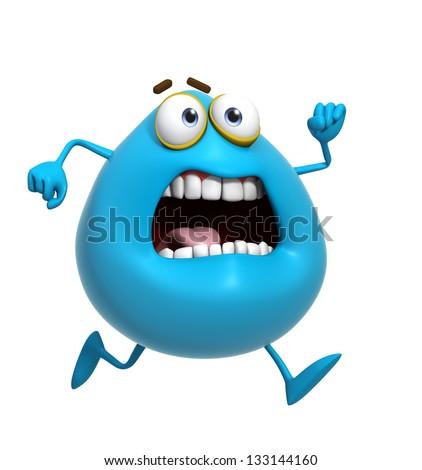 3d cartoon cute blue monster run - stock photo