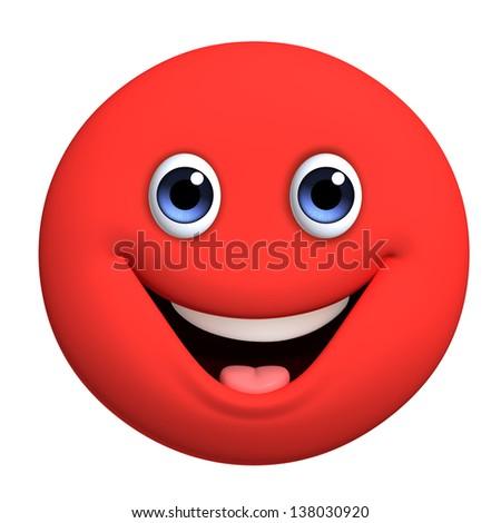 3d cartoon cute red ball - stock photo