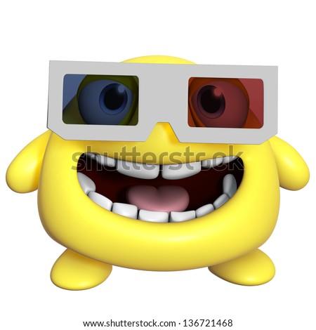 3d cartoon cute yellow monster - stock photo