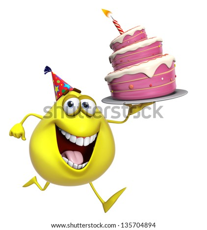 3d cartoon cute yellow monster with cake