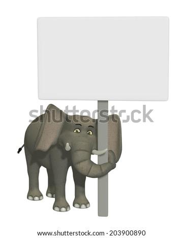 3d cartoon elephant with a blank sign - stock photo