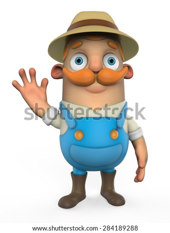 3d cartoon farmer - stock photo