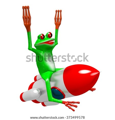 3D cartoon frog and a rocket - great for topics like cosmos, space exploring being an astronaut etc. - stock photo