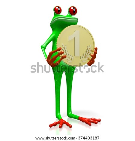 3D cartoon frog and golden coin - great for topics like money, finance, banking, savings etc.