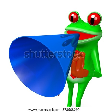 3D cartoon frog with a loudspeaker - great for topics like communication, speech, advertisement etc.
