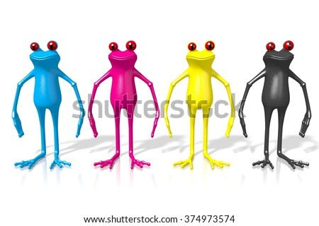 3D cartoon frogs printing CMYK colors - cyan, magenta, yellow, black - stock photo