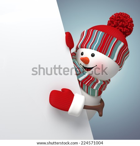 3d cartoon happy snowman holding blank banner, new year greeting card - stock photo