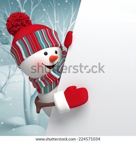 3d cartoon happy snowman holding blank banner, new year greeting card, winter background - stock photo