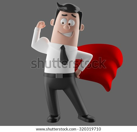 3D cartoon illustrated styled character likable gay man in a suit and tie, humorous representative symbol of strength, commitment, leadership, isolated without background, superhero with a red jacket - stock photo