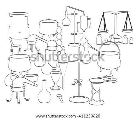 2d cartoon illustration of alchemy tools