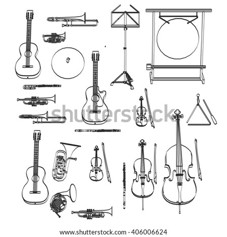 2d cartoon illustration of musical instruments
