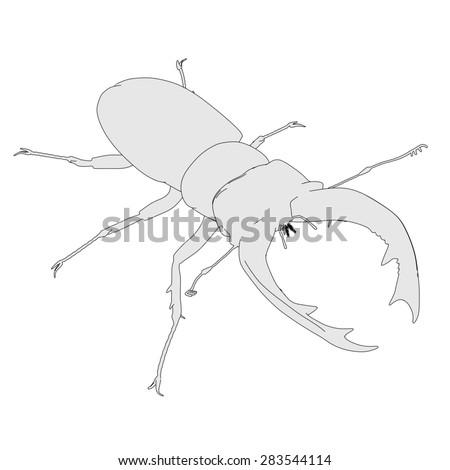 2d cartoon image of lucanus cervus - stock photo