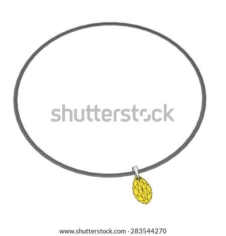 2d cartoon image of necklace jewel - stock photo