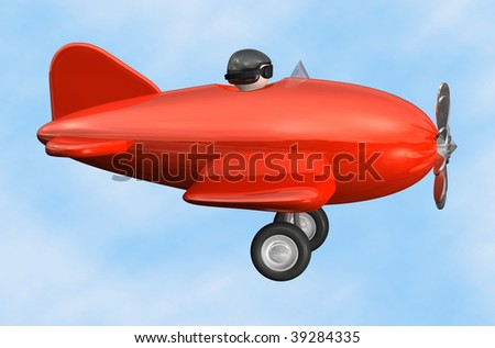 3D cartoon like old fashioned red airplane in profile